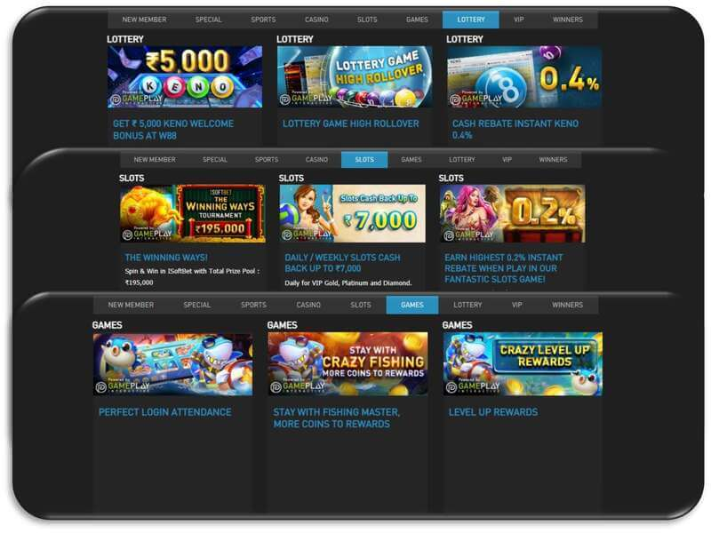 Promotion W88 for Casino Slots, Lottery, and Games